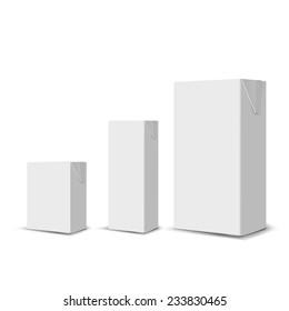 Set of 3 blank milk or juice carton boxes for branding