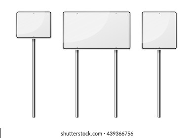 Set of 3 blank road signs, isolated on white background. EPS10 vector illustration.