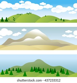 Set of 3 borders. Landscape. Panorama . Hills. Groups of trees. Desert. Mountains. Clouds in the sky. Vector illustration.