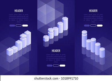 Set of 3 business headers with various chart and graph. Data visualization concept for analysis, report, presentation, infographics. Vector illustration in 3d isometric style