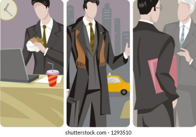 A set of 3 businessmen vector illustrations. 1) A businessman working on a laptop and eating a hamburger. 2) A businessman calling a taxi and holding a suitcase. 3) A business meeting.