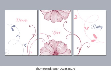 Set of 3 canvases for wall decoration in the living room, office, bedroom, kitchen, office. Home decor of the walls. Floral background with flowers of dahlias. Element for design.