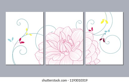A set of 3 canvases for wall decoration in the living room, office, bedroom, kitchen, office. Home decor of the walls. Floral background with flowers of dahlias. Element for design.
