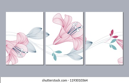A set of 3 canvases for wall decoration in the living room, office, bedroom, kitchen, office. Home decor of the walls. Floral background with flowers of lily. Element for design.
