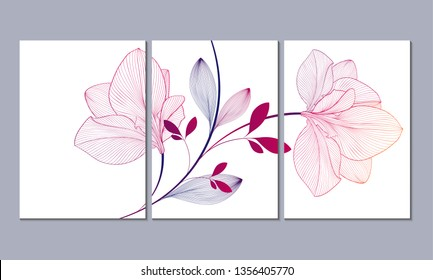 A set of 3 canvases for wall decoration in the living room, office, bedroom, kitchen, office. Home decor of the walls. Floral background with flowers of amaryllis. Element for design.