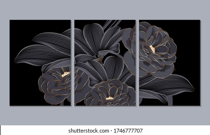A set of 3 canvases for wall decoration in the living room, office, bedroom, kitchen, office. Home decor of the walls. Luxurious floral background with golden flowers roses. Element for design.