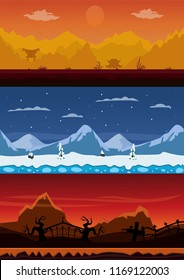 Set of 3 cartoon backgrounds. Chinese mountains, winter mountains and cemetery.