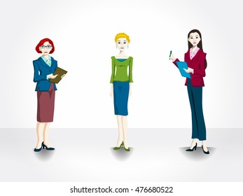 Set of 3 cartoon office women for use in presentations, elearning courses, and more. Woman at office.