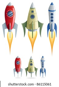 Set of 3 cartoon rockets in 2 versions.