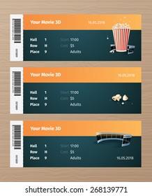 Set of 3 cinema tickets. Ticket mockup.