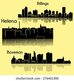 Set of 3 city in Montana ( Helena, Billings, Bozeman )