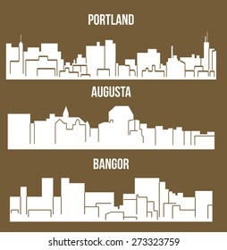 Set of 3 City silhouette in Maine