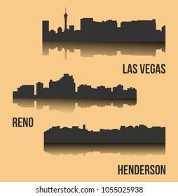 Set of 3 city silhouette in Nevada ( Las Vegas, Reno, Henderson )