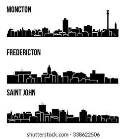 Set of 3 City silhouette in New Brunswick, Canada ( Fredericton, Saint John, Moncton )