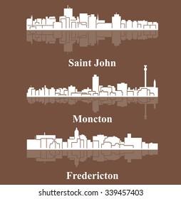 Set of 3 City silhouette in New Brunswick, Canada (Fredericton, Saint John, Moncton)