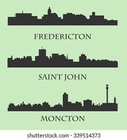 Set of 3 City silhouette in New Brunswick, Canada ( Fredericton, Saint John, Moncton )