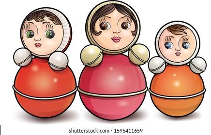 Set of 3 colored Roly-Poly,tilting dolls vector illustration