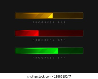 Set of 3 colorful, bright  progress bars in different colors on a black background.