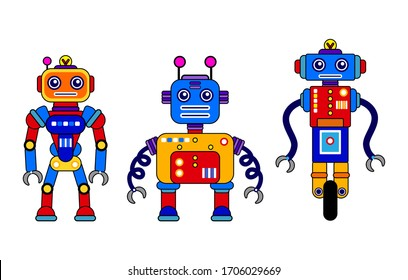 Set of 3 colorful robots on a white background. Cartoon style. Vector illustration. Robot toys