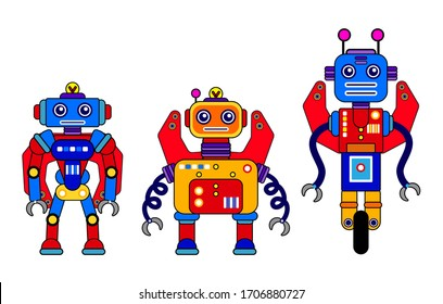 Set of 3 colorful robots on awhite background. Cartoon style. Vector illustration. Robot toys