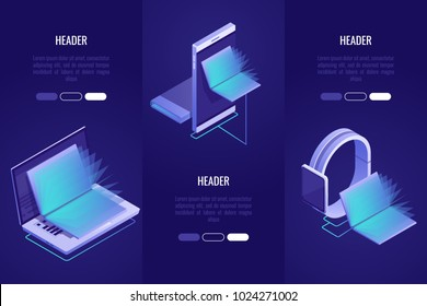 Set of 3 conceptual headings. Online books shop, digital library concept. Laptop and mobile devices with books inside.Vector illustration in Isometric style