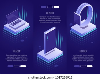 Set of 3 conceptual headings.Smart digital devices such as phone ,laptop,watches. 3d isometric vector illustration on dark blue background
