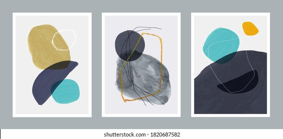 Set of 3 creative minimalist hand painted illustrations for wall decoration, postcard or brochure design. Vector EPS10.