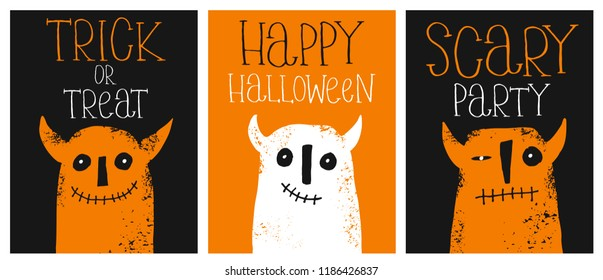 Set of 3 Cute Hand Drawn Halloween Vector Illustrations. Funny Grunge White and Orange Devils.Black and Orange Background.Hand Written Happy Halloween,Trick or Treat and Scary Party. Infantile Design.