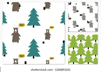 Set of 3 cute minimalist seamless patterns with forest bears. Scandinavian design background. Primitive elements on white backdrop.