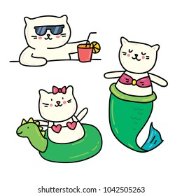Set of 3 cute summer cats: mermaid cat and cat drinking cocktail. Isolated on white vector hand drawn doodle color illustration