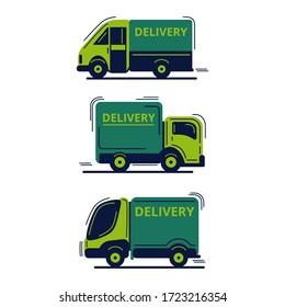 Set of 3 detailed express delivery trucks. Flat vector illustration.