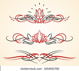 a set of 3 different pinstripe floral vector graphic ornaments