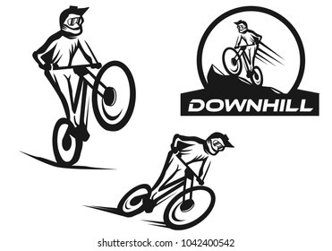 Set of 3 downhill logo template vector