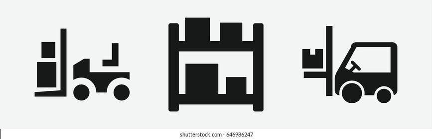 Set of 3 filled forklifticons