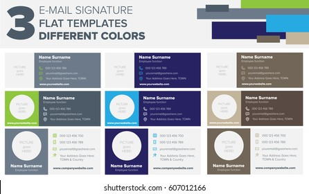 Set of 3 flat and modern e-mail signature templates on 3 different colors