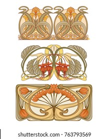 Set of 3 floral ornaments in the style of art nouveau. Vector illustratoin