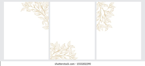 Set of 3 Freehand Tree Twigs Vector Illustration. Gold Tree Branches Isolated on a White Background. Simple Elegant Wedding Cards.Floral Hand Drawn Art for Card, Invitation. Illustration With no Text.