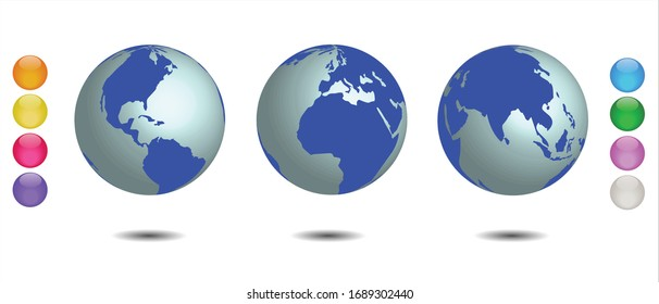 Set of 3 globes of earth. Realistic world map, hemispheres with continents. Eight colored spheres bonus. Vector Illustration EPS 10