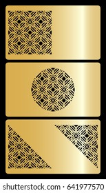 set of 3 gold color discount or business card. template for cut out. geometric ornament. vector illustration