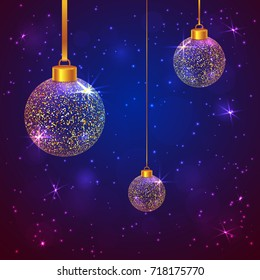 Set of 3 golden sparkled transparent Christmas balls on dark blue and violet background