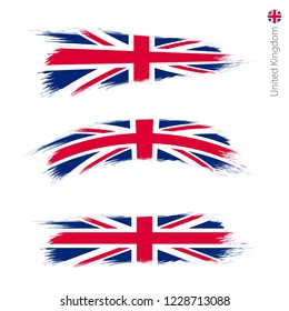 Set of 3 grunge textured flag of United Kingdom, three versions of national country flag in brush strokes painted style. Vector flags.