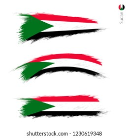 Set of 3 grunge textured flag of Sudan, three versions of national country flag in brush strokes painted style. Vector flags.