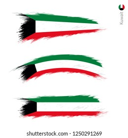 Set of 3 grunge textured flag of Kuwait, three versions of national country flag in brush strokes painted style. Vector flags.