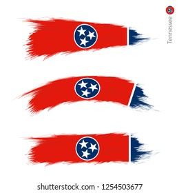 Set of 3 grunge textured flag of US State Tennessee, three versions of state flag in brush strokes painted style. Vector flags.