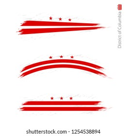 Set of 3 grunge textured flag District of Columbia, three versions of flag in brush strokes painted style. Vector flags.