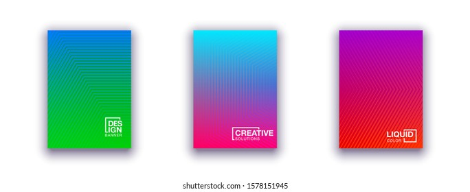 set of 3 Halftone cover page layouts vector design geometric background. Party posters set halftone gradient texture. Music flyer templates. Social media duotone gradient background Retro cover pages