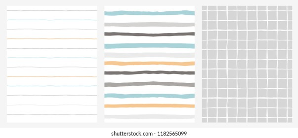 Set of 3 Hand Drawn Irregular Geometric Patterns. Horizontal Blue, Grey and Orange Stripes on a White Background. White Grid on A Grey Background. Infantile Style Design.