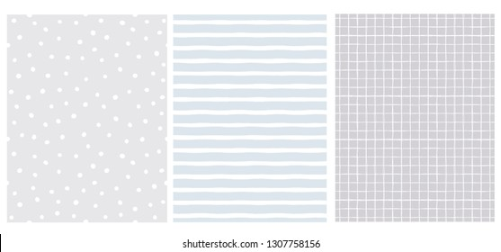Set of 3 Hand Drawn Irregular Geometric Patterns. White Horizontal Stripes, Grid and Dots. Cool Gray and Light Pale Blue Backgrounds. Cute Infantile Style Illustration. Children's Scrawl Like Design.