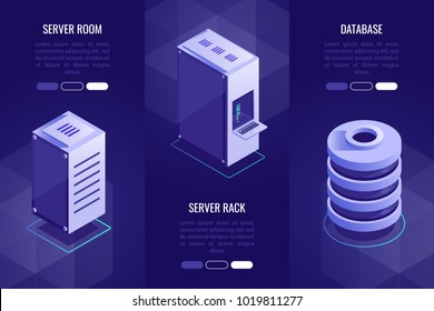 Set of 3 headers with server equipment.Server room,server rack and database. Vector illustration in 3d isometric style