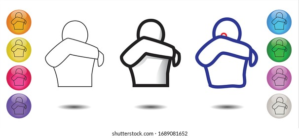 Set of 3 icons : Cough or Sneeze into your elbow, not yout hands in different variations. Prevent contamination, spreading germs and viruses icon. Coronavirus, covid-19 virus. Vector illustration EPS